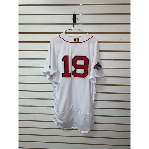 Photo of Jackie Bradley Jr Game Used April 9, 2019 Gold Trimmed Home Jersey