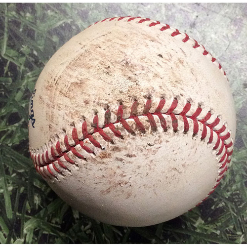 Photo of Game-Used Baseball NLCS Game 2 LAD@MIL 10/13/18 - Kenley Jansen - Christian Yelich: Foul