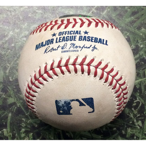 Photo of Game-Used Baseball ATL@MIL 07/15/19 - Adrian Houser - Brian McCann: Single