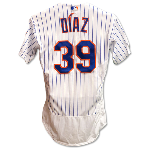 Photo of Edwin Diaz #39 - Game Used White Pinstripe Jersey - 1 IP, 0 ER, 2 K's, Earns 26th Save - Mets vs. Braves - 9/28/19