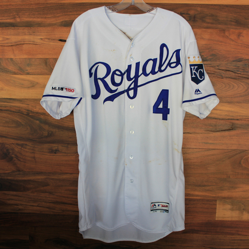 Photo of Game-Used Jersey: Alex Gordon 1,567th and 1,568th Career Hits (Size 46 - CLE @ KC - 7/27/19)