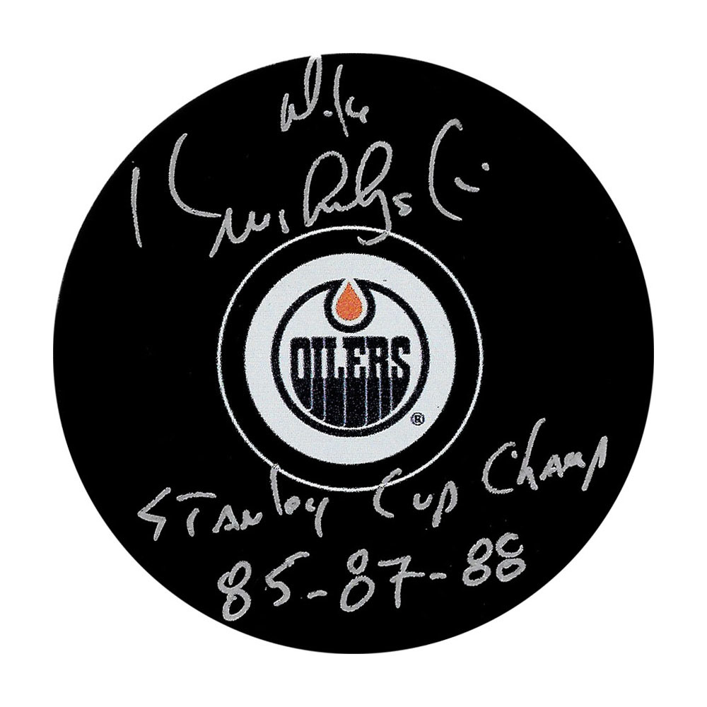 Mike Krushelnyski Autographed Edmonton Oilers Puck w/STANLEY CUP CHAMP 85-87-88 Inscription