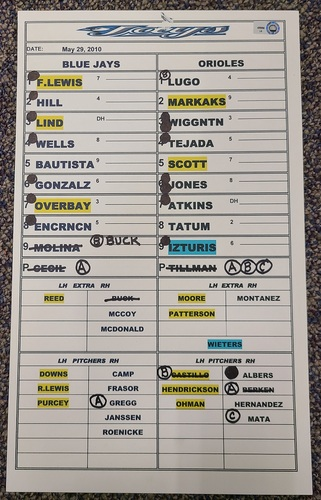 Photo of Authenticated Game Used Lineup Card (May 29, 2010 vs BAL): 2 HR Game by Lyle Overbay