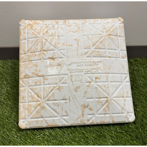 Photo of Game-Used 2020 1st Base with World Series Champions Jewel - 9/13 vs ATL