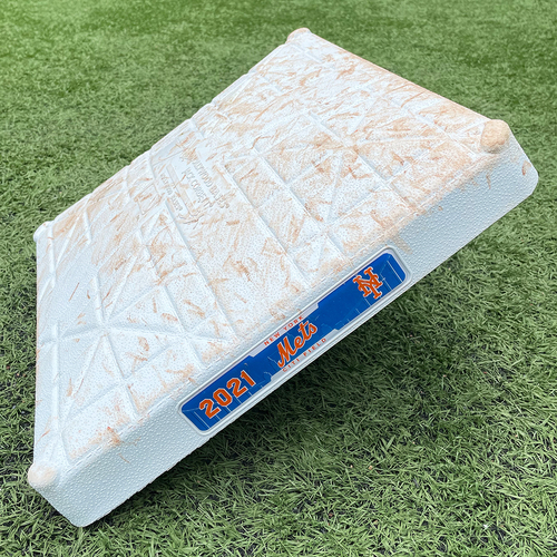 Photo of Game Used Base - 1st Base, Innings 7-8 - Jonathan Villar Walk-Off Single in the 8th; Alonso and McCann Singles; Conforto Walk - Mets vs. Phillies - 4/13/21 - Game 1