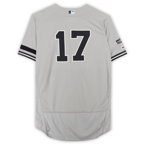 Photo of Aaron Boone New York Yankees Game-Used #17 Gray Jersey from Game 1 of the 2019 ALCS vs. Houston Astros - Worn by Manager during player introductions.