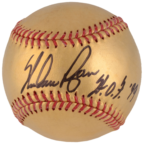 Photo of Nolan Ryan Texas Rangers Autographed 24 Karat Gold Baseball with HOF 99 Inscription