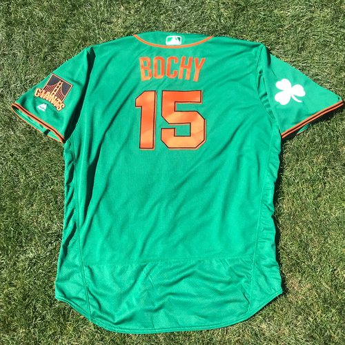 Photo of San Francisco Giants - 2018 St. Patrick's Day - Game-Used Jersey - Bruce Bochy
