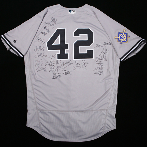 Photo of 2018 Jackie Robinson Day Jersey - New York Yankees Team Autographed Jersey