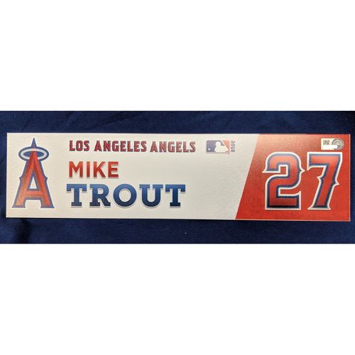 Photo of Mike Trout Game-Used 2018 Home Opener Locker Tag