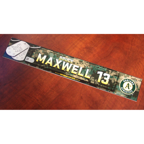 Photo of Bruce Maxwell 2018 Team Issued Memorial Day Locker Nameplate
