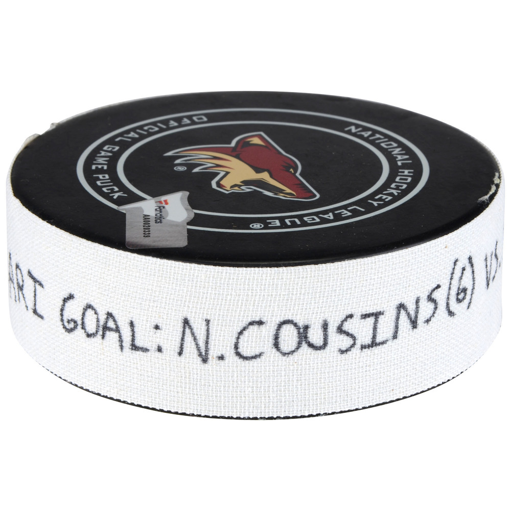 Nick Cousins Arizona Coyotes Game-Used Goal Puck from January 22, 2018 vs. New York Islanders - First Goal of Two Goals Scored