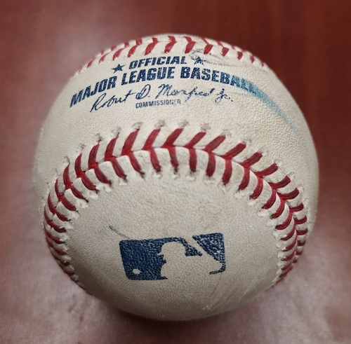 Photo of Authenticated Game Used Baseball - March 26, 2019 in Montreal vs Brewers: Kevin Pillar Singles against Jacob Barnes (B2)