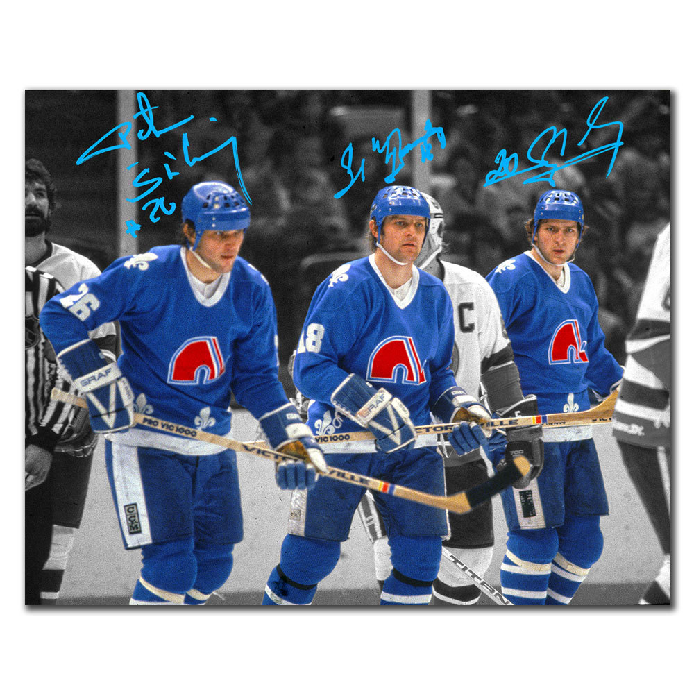 Peter Stastny Marian Stastny & Anton Stastny Quebec Nordiques SPOTLIGHT Autographed 8x10