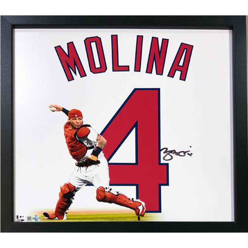 "Photo of Cardinals Authentics: St. Louis Cardinals Yadier Molina Autographed 14""x14"" Uniframe"
