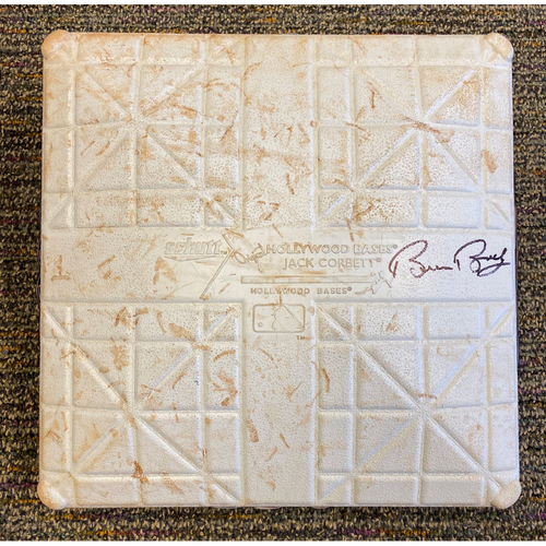 Photo of 2019 Game Used & Autographed Base signed by #15 Bruce Bochy used on 9/29 vs. Los Angeles Dodgers from the 9th inning through Retirement Ceremony - Bruce Bochy's Last Game