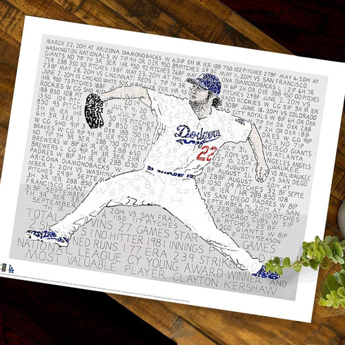Photo of 2014 MVP Clayton Kershaw Art Print by Dan Duffy, Art of Words - Los Angeles Dodgers