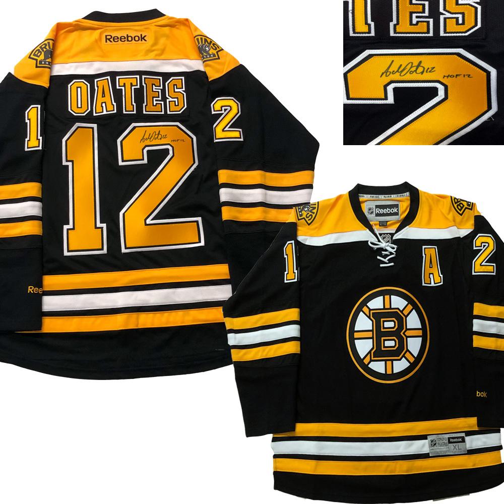ADAM OATES Signed Boston Bruins Black Reebok Jersey - HOF 12
