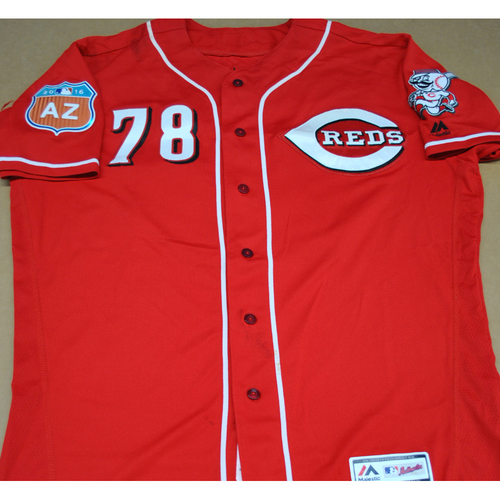 Photo of Game-Used 2016 Spring Training Jersey - Nick Travieso - Size 48 - Cincinnati Reds