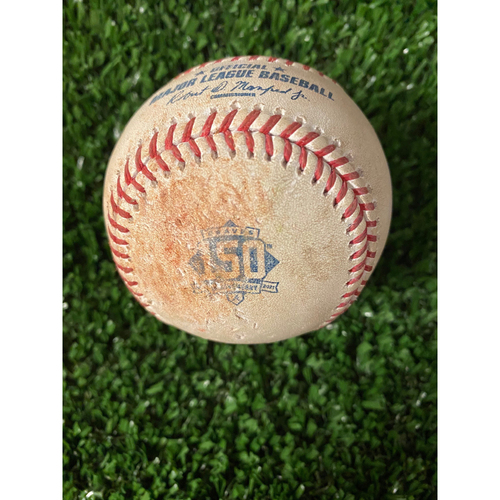 Photo of Ozzie Albies Game Used Hit Double Baseball - Home Opener, 4/9/21, Bottom 5
