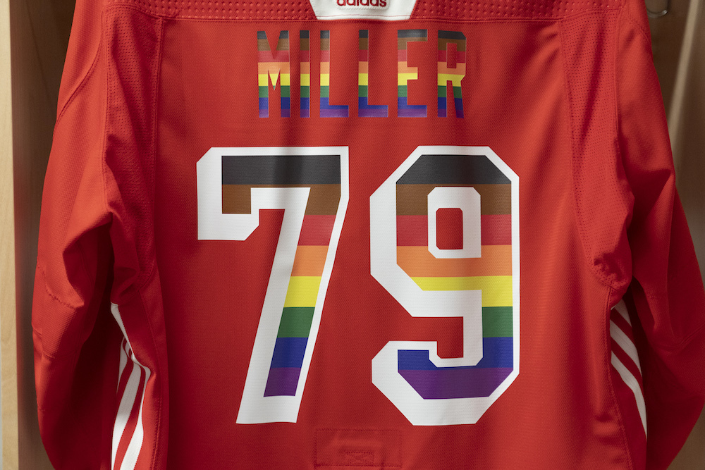 Autographed Pride Night Warm-Up Jersey: #79 K'Andre Miller- New York Rangers