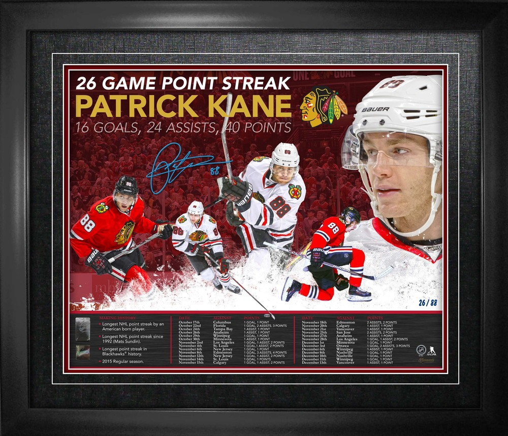 Patrick Kane - Signed & Framed 16x20 Chicago Blackhawks 26 Game Point Streak - Limited Edition /88