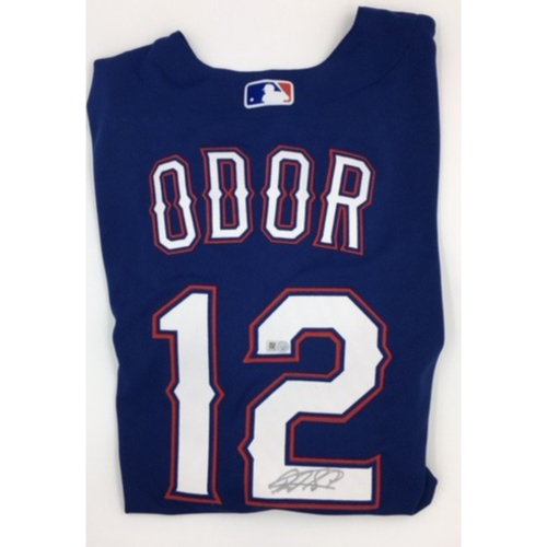 Photo of Rougned Odor Autographed Authentic Rangers Blue Jersey