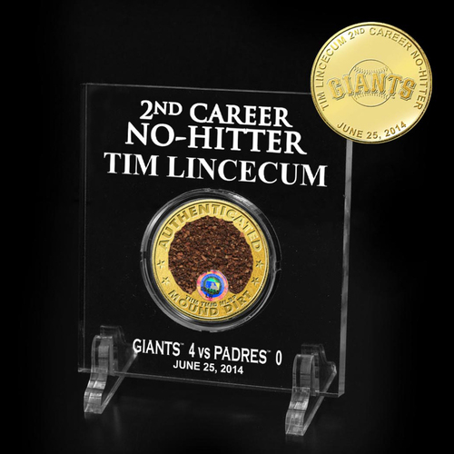 Photo of San Francisco Giants - Tim Lincecum 2014 No Hitter Game-Used Dirt Acrylic Desk Display