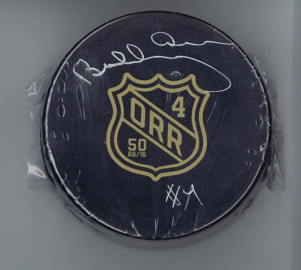 Bobby Orr - Signed Puck Rookie Season 50th Anniversary - IMPERFECT