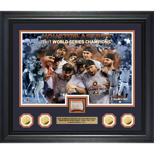 Photo of Houston Astros 2017 World Series Champions Game 7 Game-Used Baseball Gold Coin Photo Mint (With 2017 World Series Wordmark and Commissioner's Signature)