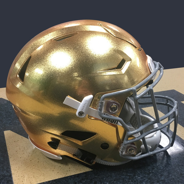 Photo of Authentic Game-Worn 2017 Notre Dame Helmet - Style 2 - Size L (B)