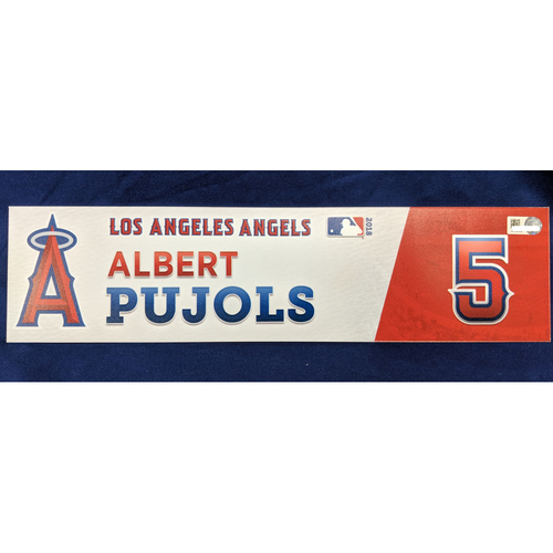 Photo of Albert Pujols Game-Used 2018 Home Opener Locker Tag