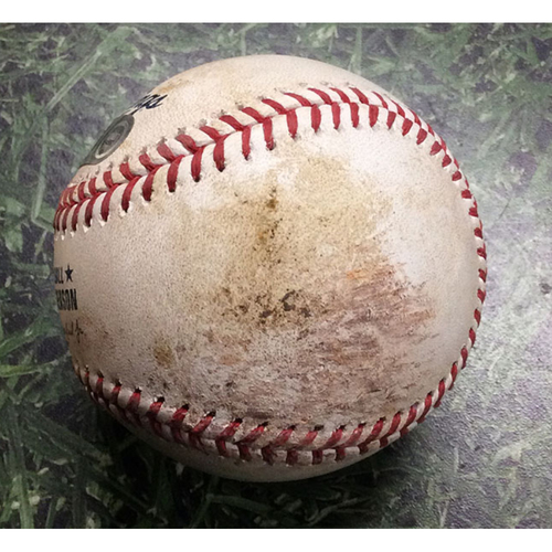 Photo of Game-Used Baseball NLCS Game 7 LAD@MIL 10/20/18 - Walker Buehler - Jesus Aguilar: Foul