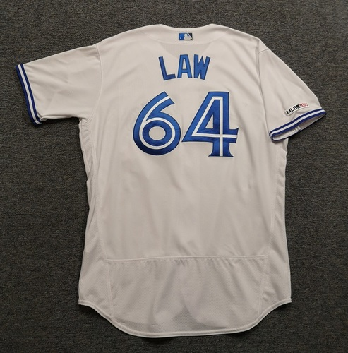 Photo of Authenticated Game Used Jersey - #64 Derek Law (May 6, 19). Size 48.