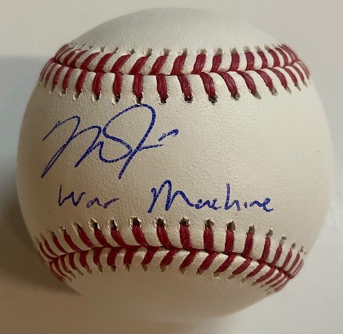 "Photo of Mike Trout ""WAR Machine"" Autographed Authentic Baseball"
