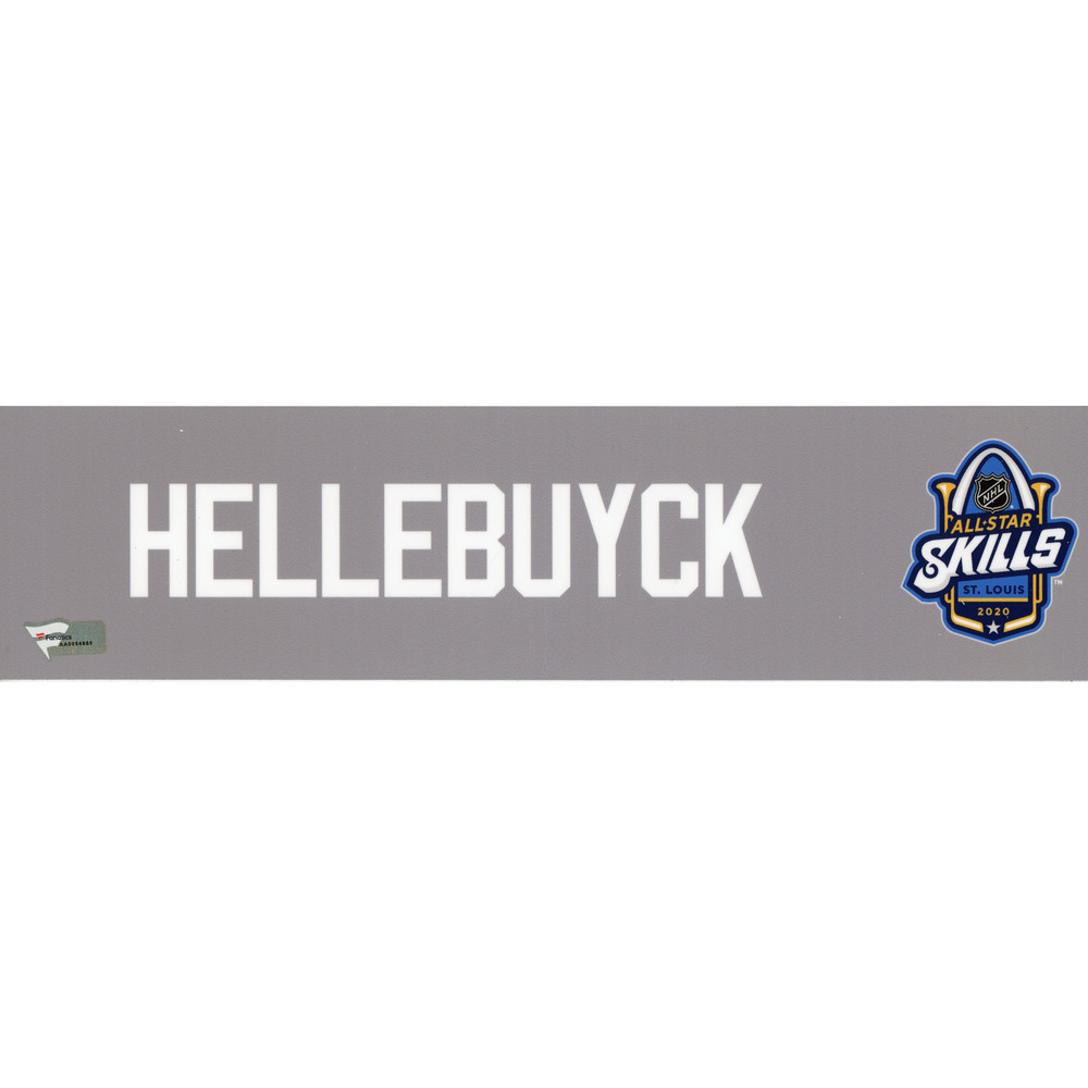 Connor Hellebuyck Player-Issued Gray Nameplate from the 2020 NHL All-Star Skills Competition on January 24, 2020 - Size 12