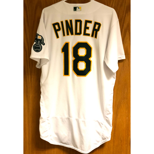 Photo of Game-Used 2020 AL Wild Card & AL Division Series Jersey - Chad Pinder (ALWC Games 1 & 3 / ALDS Game 1)