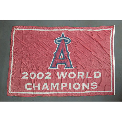 Photo of Los Angeles Angels 2002 World Series Champions Team-Issued Banner