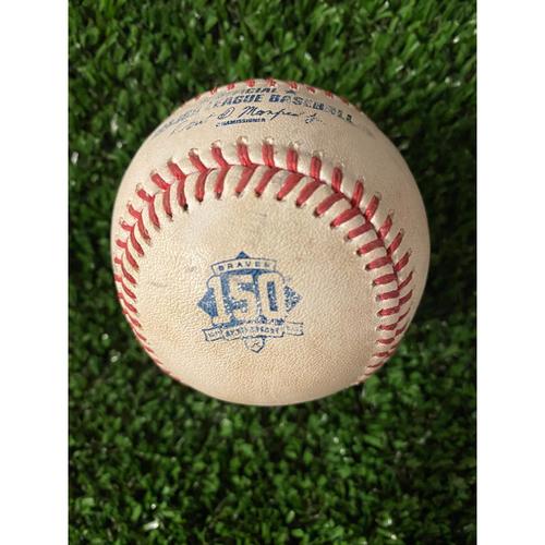 Photo of Bryce Harper Game Used Hit Single Baseball - 4/10/21, Top 1