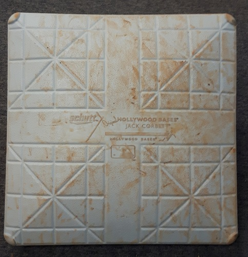 Photo of Authenticated Game Used Base - 1st Base for Innings 6 to 9: Detroit at Toronto (Aug 30, 2015). Encarancion with 30th HR of season, extends hit streak to 25 games (4th in Blue Jays History) and 35 RBIs set a franchise record for most in any month