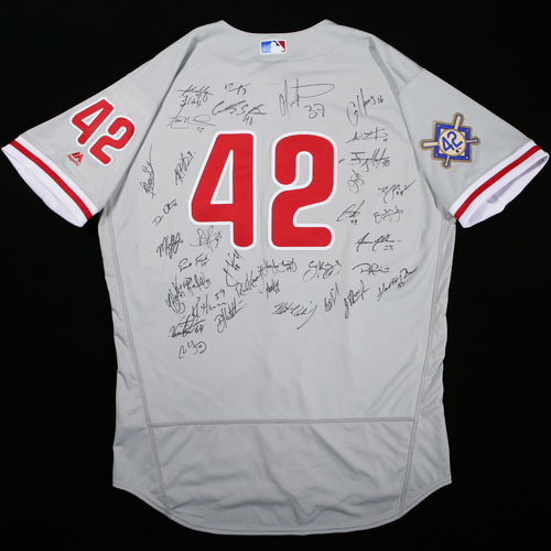 Photo of 2018 Jackie Robinson Day Jersey - Philadelphia Phillies Team Autographed Jersey