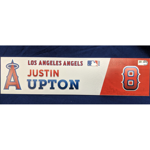 Photo of Justin Upton Game-Used 2018 Home Opener Locker Tag