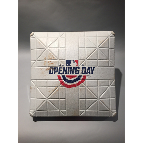 Photo of 2018 New York Yankees Opening Day Base - 3rd Base used in the top of the 9th inning