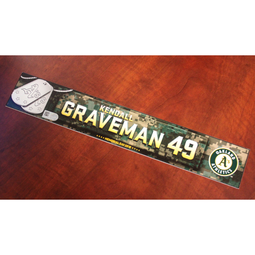 Photo of Kendall Graveman 2018 Team Issued Memorial Day Locker Nameplate