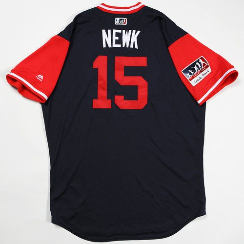 "Photo of Sean ""Newk"" Newcomb Atlanta Braves Game-Used Jersey 2018 Players' Weekend Jersey"