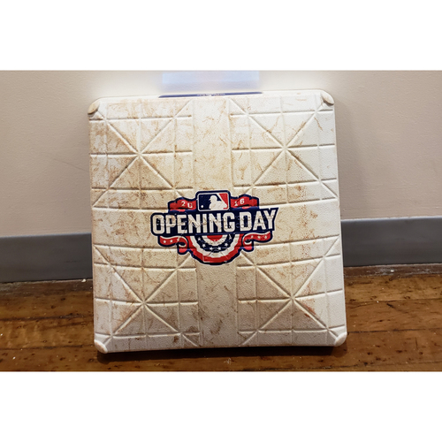 Photo of Game-Used Opening Day Base: San Francisco Giants at Milwaukee Brewers - 1st Base Used in Innings 7-9 - 4/4/16
