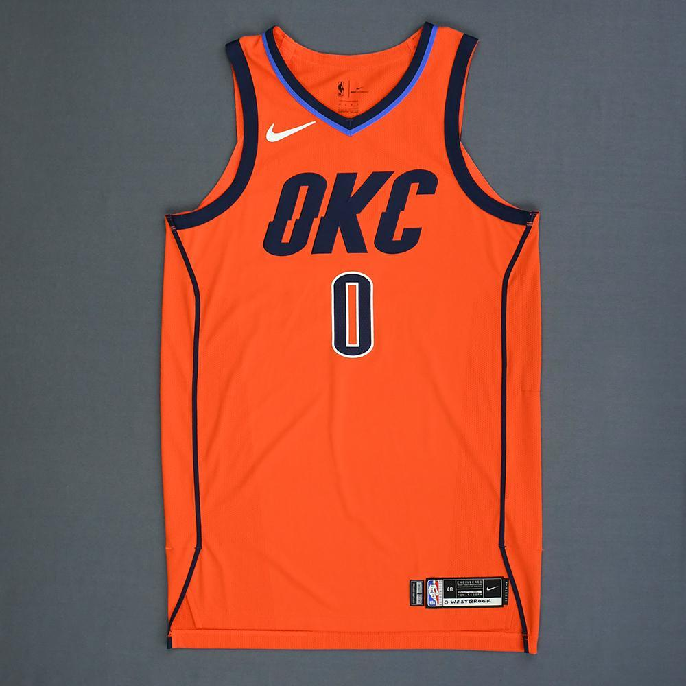 Russell Westbrook - Oklahoma City Thunder - Game-Worn 1st Half Earned Statement Edition Jersey - 2018-19 Season