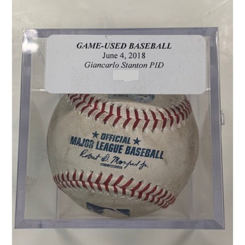Photo of Game-Used Baseball: Giancarlo Stanton Pitched in Dirt