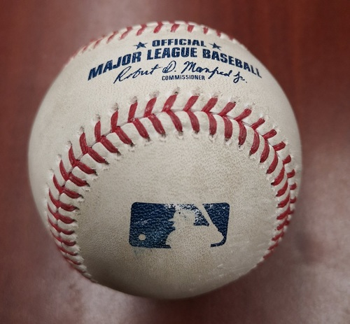 Photo of Authenticated Game Used Baseball - March 26, 2019 in Montreal vs Brewers: Freddy Galvis Singles against Zack Brown (B6)