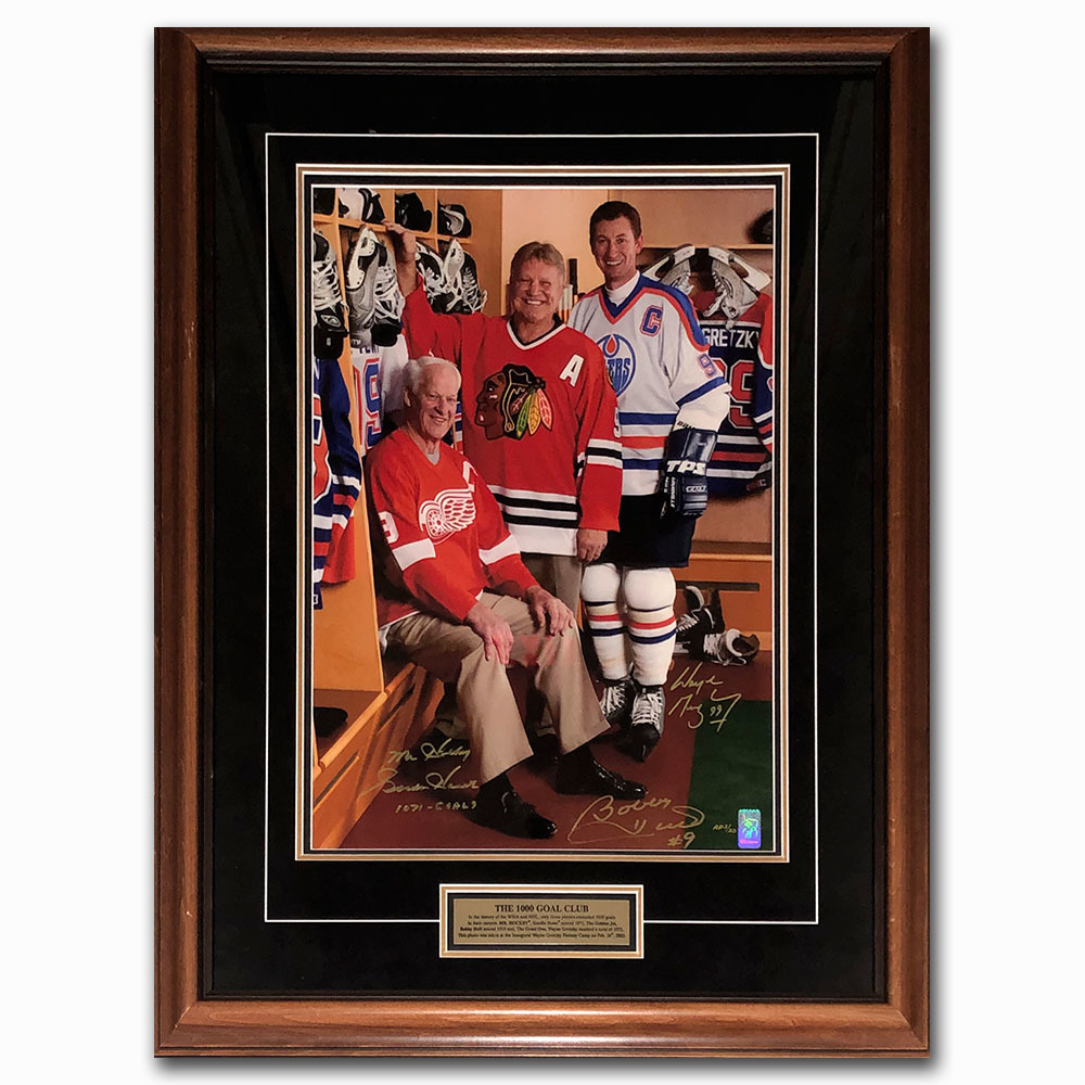 Gordie Howe, Wayne Gretzky & Bobby Hull Artist Proof Framed 16X20 Photo - Once Hung in Howe's Home